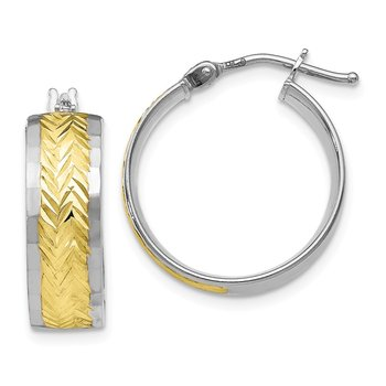 Leslie's 10k White Gold w/ Yellow Rhodium Polished and D/C Earrings