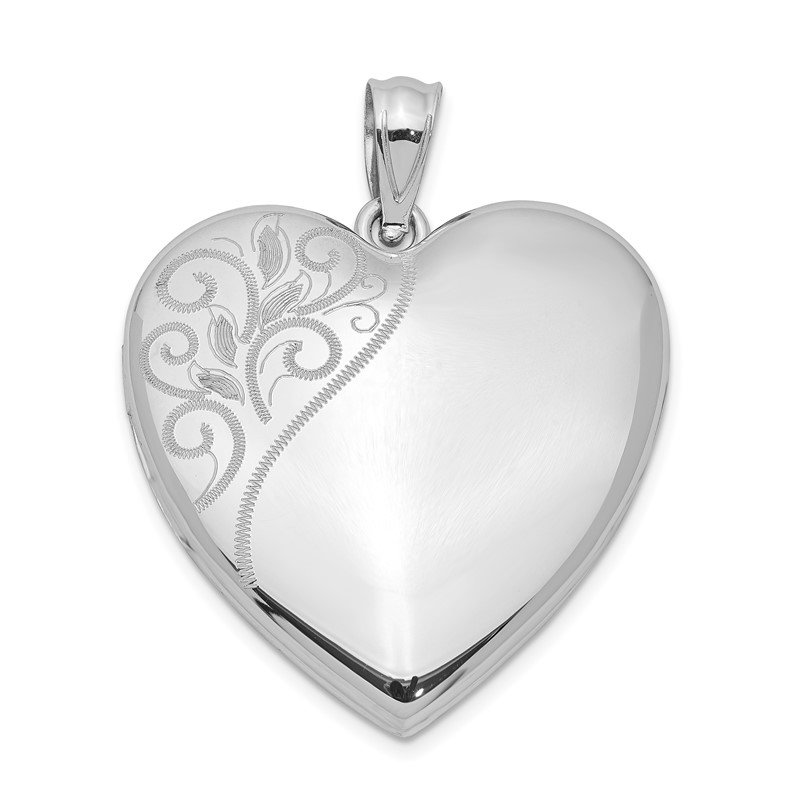 Quality Gold Sterling Silver Rhodium-plated 24mm Polished Swirl Heart Locket