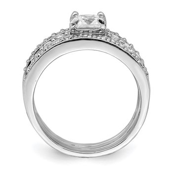 Sterling Silver CZ 3 Piece Wedding Set Ring