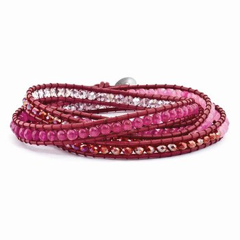 Multi Crystal and Multi Colored Jade Beaded Leather Multi-wrap Bracelet