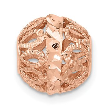 14k Rose Gold Diamond-cut Filigree Ball Chain Slide