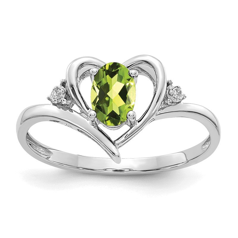Quality Gold 14k White Gold Peridot and Diamond Heart Ring