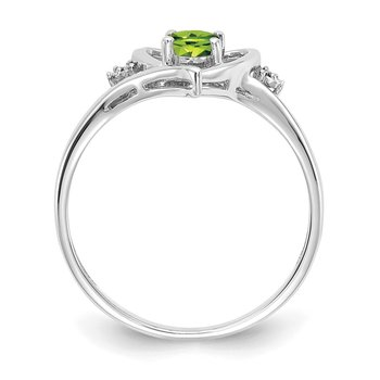 14k White Gold Peridot and Diamond Heart Ring