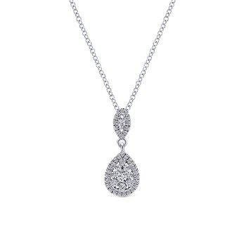 14K White Gold Pavé Diamond Pear Shaped Cluster Pendant Necklace