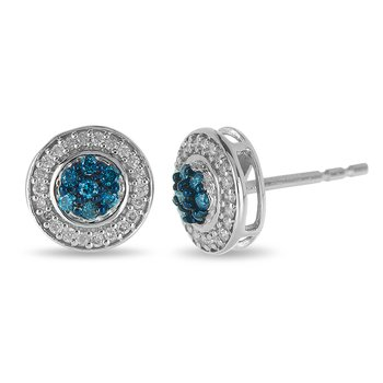 10K WG Blue and White Diamond Stud Earring with Cluster Center and Round Halo