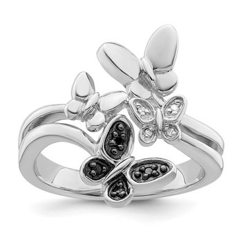 Sterling Silver Rhod Plated White & Black Diamond Butterfly Ring