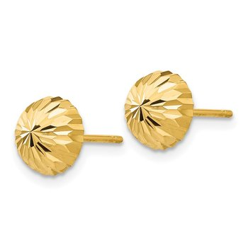 14k Gold Diamond-cut 8mm Domed Post Earrings
