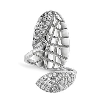 Sterling Silver Rhodium-plated CZ Adjustable Textured Fingernail Ring