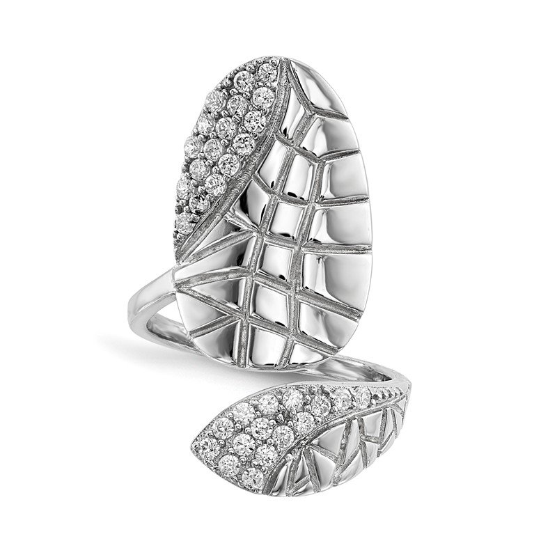 JC Sipe Essentials Sterling Silver Rhodium-plated CZ Adjustable Textured Fingernail Ring