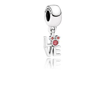 Disney, Love Mickey Charm, Red Cz