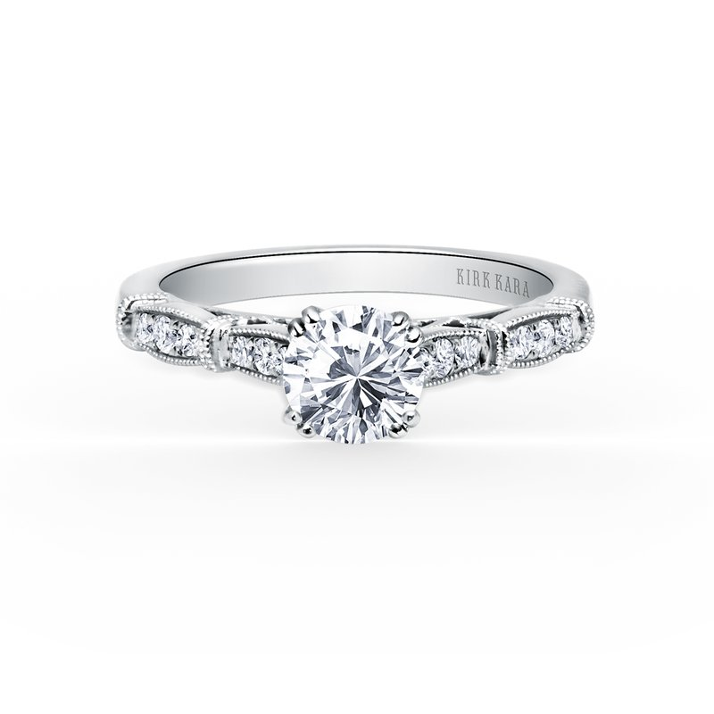 Kirk Kara Milgrain Vintage Diamond Engagement Ring