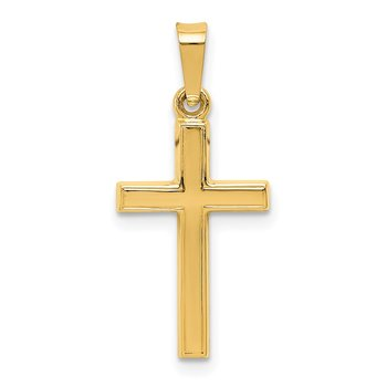 14k Diamond-cut Small Hollow Cross Pendant