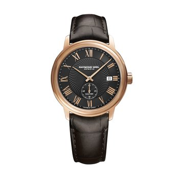 Men's Automatic Small Second Watch, 39mm steel on leather strap, black dial, rose gold PVD plated