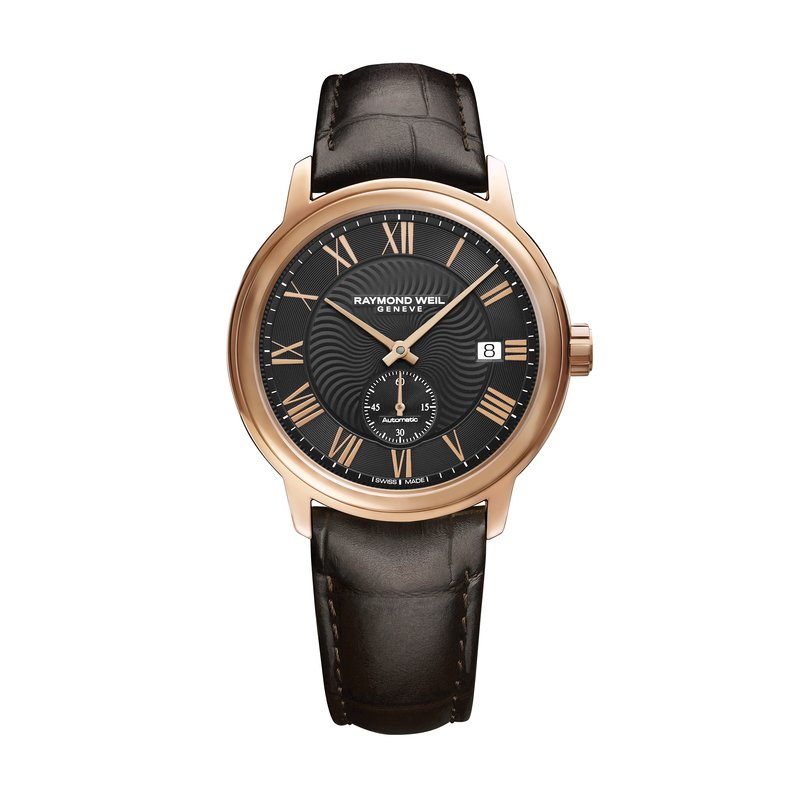 Raymond Weil Men's Automatic Small Second Watch, 39mm steel on leather strap, black dial, rose gold PVD plated