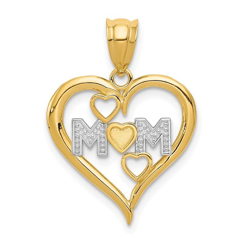 Quality Gold 14k and White Rhodium Diamond-cut Mom Heart Pendant