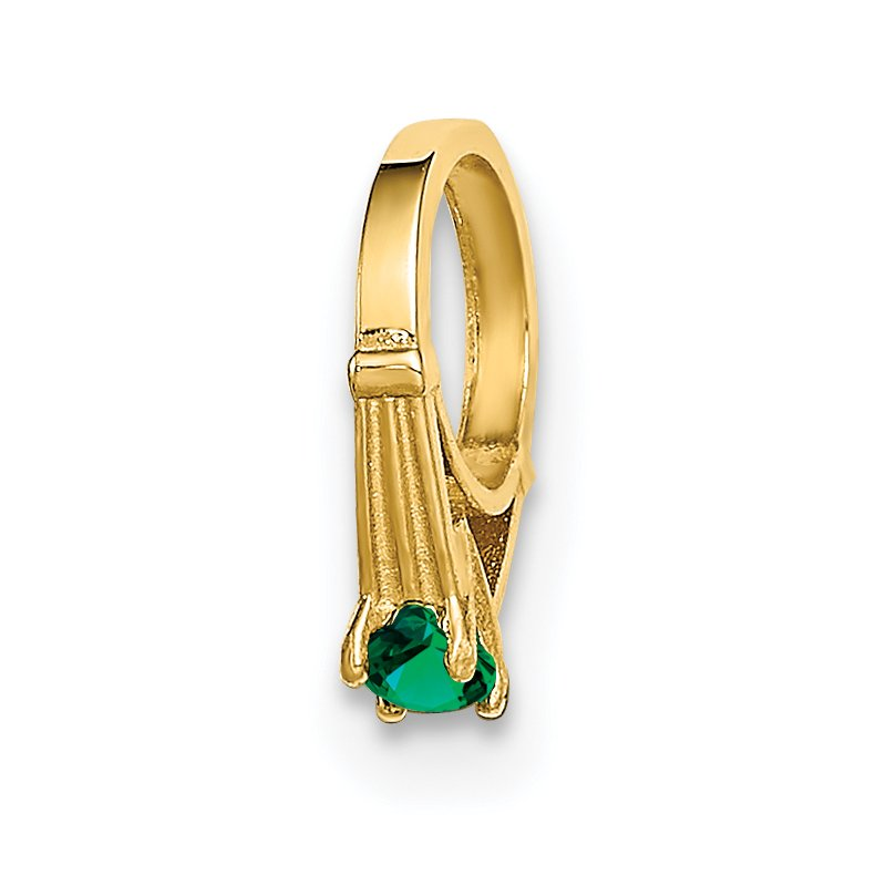 Quality Gold 14K 3D Ring with Dark Green Glass Stone Charm