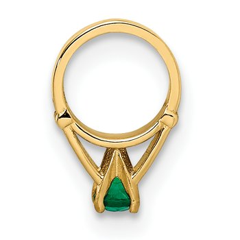14K 3D Ring with Dark Green Glass Stone Charm
