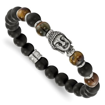 Stainless Steel Antiqued Buddha Black Agate Tiger Eye Stretch Bracelet