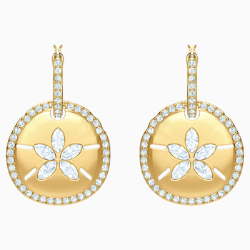 Ocean Sand Coin Pierced Earrings, White, Gold-tone plated