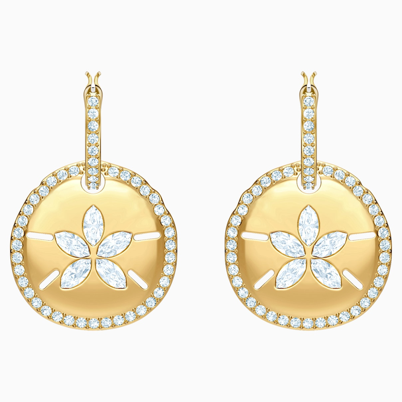 Swarovski Ocean Sand Coin Pierced Earrings, White, Gold-tone plated