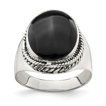 Sterling Silver Polished Black Onyx Ring