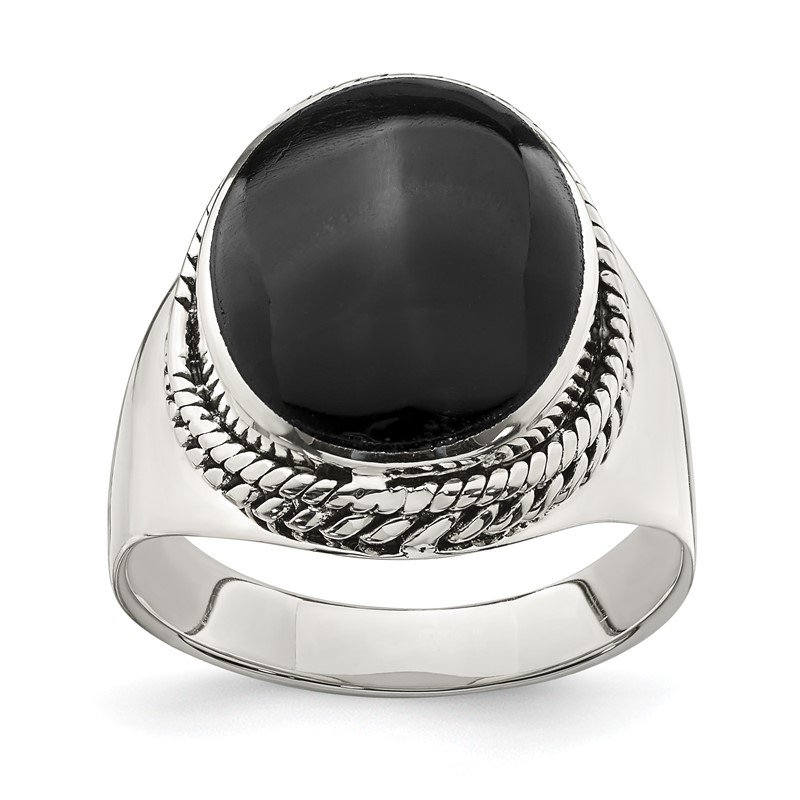 Quality Gold Sterling Silver Polished Black Onyx Ring