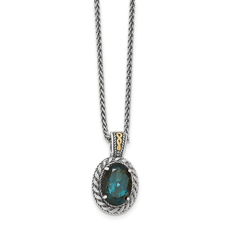 Shey Couture Sterling Silver w/14k London Blue Topaz Hinged Bail Necklace