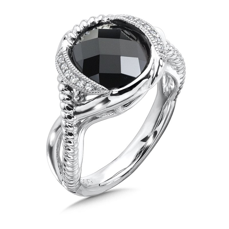 Colore Sg Sterling Silver Diamond & Onyx Ring