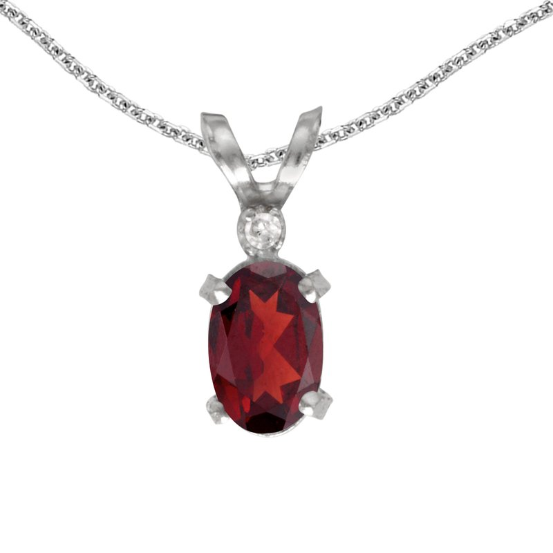 Color Merchants 14k White Gold Oval Garnet And Diamond Filagree Pendant