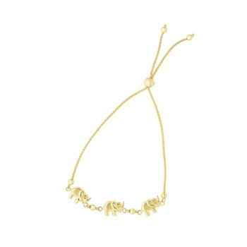 14K Gold Elephant Friendship Bracelet