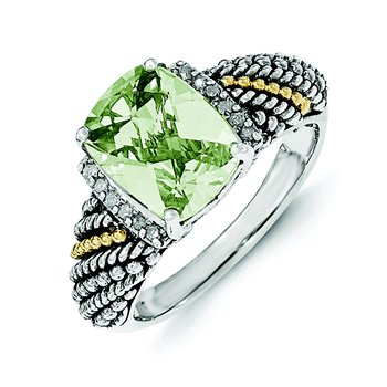 Sterling Silver w/14k Diamond and Green Quartz Ring