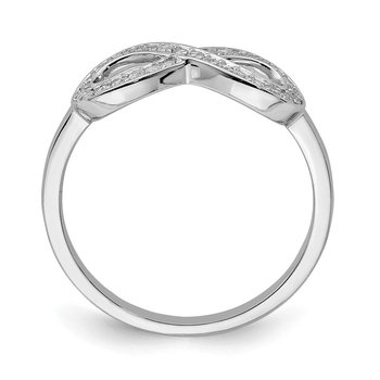 Sterling Silver Rhodium-plated with CZ Infinity Ring