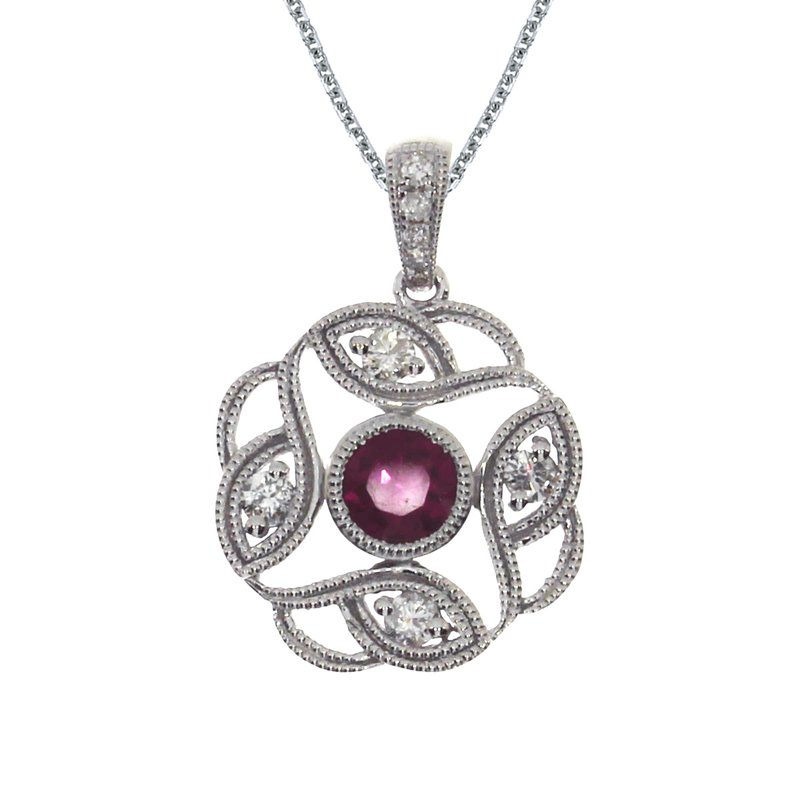 14k White Gold Ruby Open Pendant