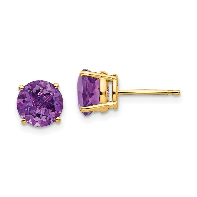 Quality Gold 14k 7mm Amethyst Post Earrings