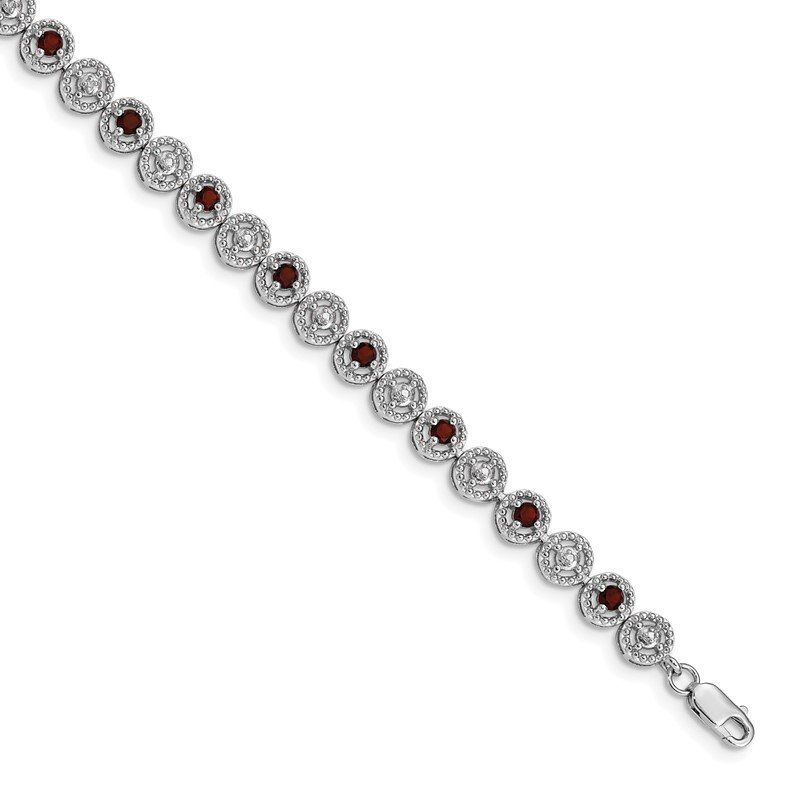 Quality Gold Sterling Silver Rhodium-plated Garnet Diamond Bracelet