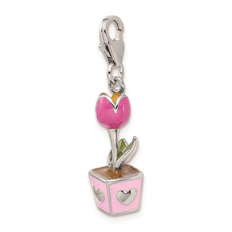 Quality Gold Sterling Silver RH 3-D Pink Enameled Potted Tulip w/Lobster Clasp Charm