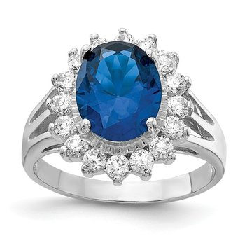 Cheryl M Sterling Silver CZ & Lab created Dark Blue Spinel Ring