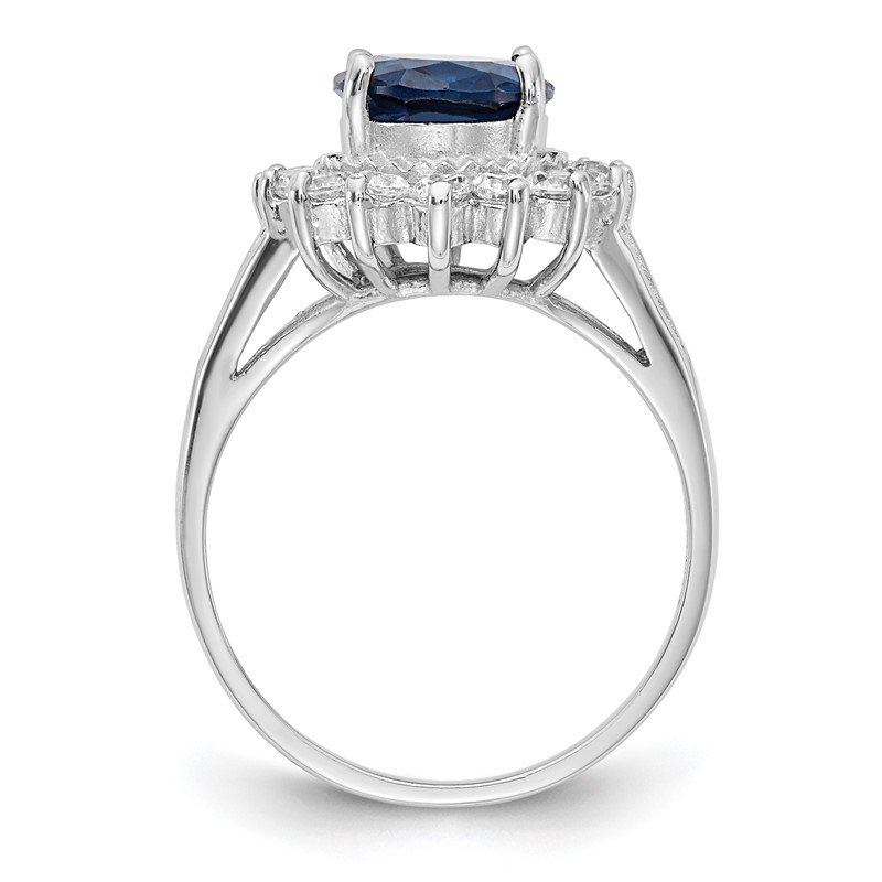 Cheryl M Cheryl M Sterling Silver Rhod-plated CZ & Lab Created Dk Blue Spinel Ring