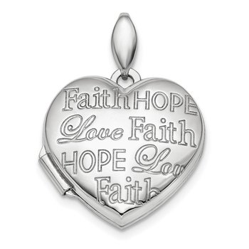 Sterling Silver Rhodium-plated Faith Hope Love 18mm Heart Locket