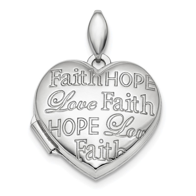 Quality Gold Sterling Silver Rhodium-plated Faith Hope Love 18mm Heart Locket