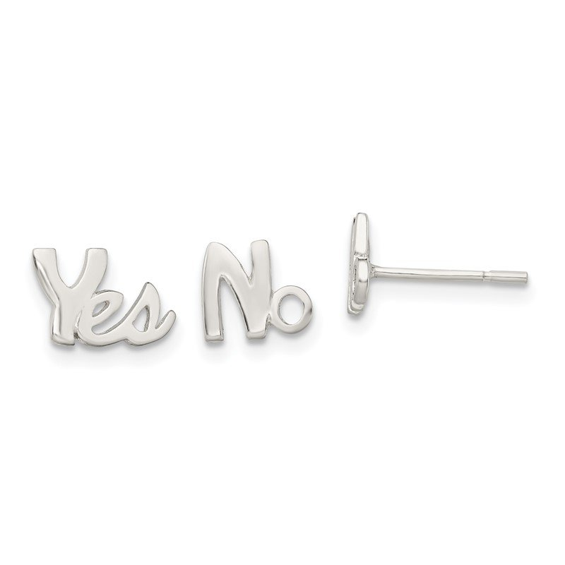 Quality Gold Sterling Silver Polished Left and Right YES/NO Post Earrings