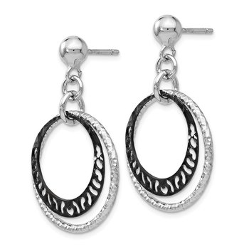 Leslie's Sterling Silver Ruthenium-plated Post Dangle Earrings
