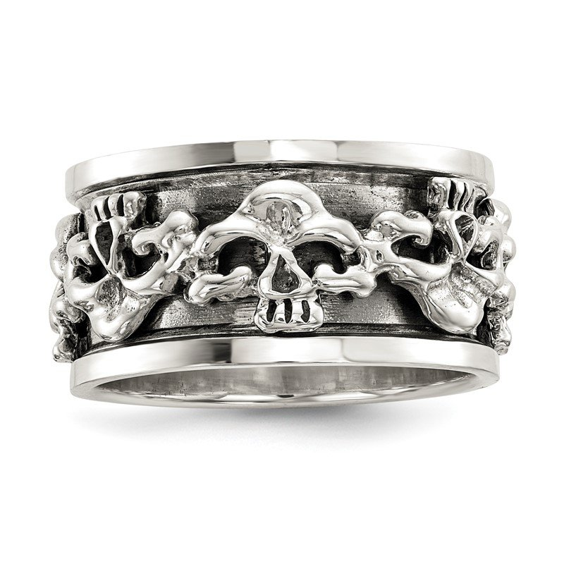 Quality Gold Sterling Silver Polished Spinning Center Antiqued Skull Ring