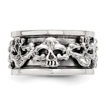 Sterling Silver Polished Spinning Center Antiqued Skull Ring
