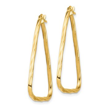 14k Polished 1.5mm Twisted Triangle Hoop Earrings