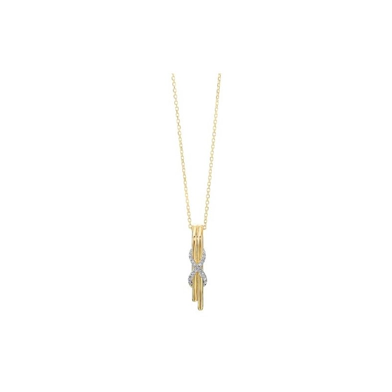 Gems One Diamond Anniversary XO Cascade Pendant Necklace in 14k Yellow Gold (0.06ctw)