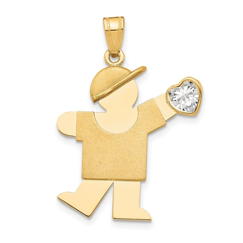 Quality Gold 14k Boy with CZ April Birthstone Charm