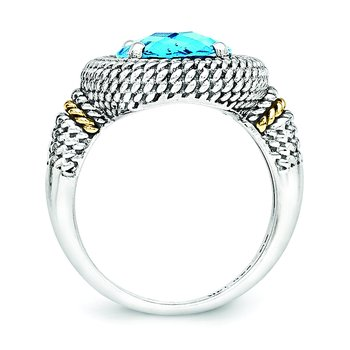 Sterling Silver w/14k Antiqued Blue Topaz Ring