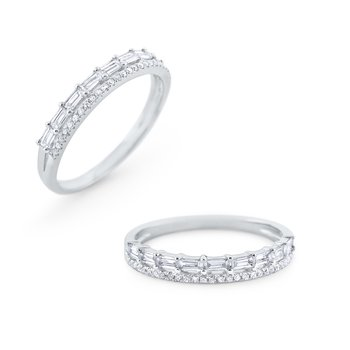 Double Row Diamond Mosaic Band Set in 14 Kt. Gold