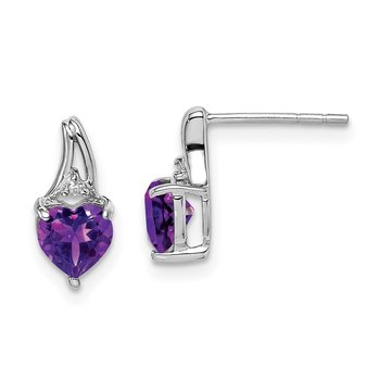 Sterling Silver Rhodium Plated Diamond & Amethyst Heart Post Earrings